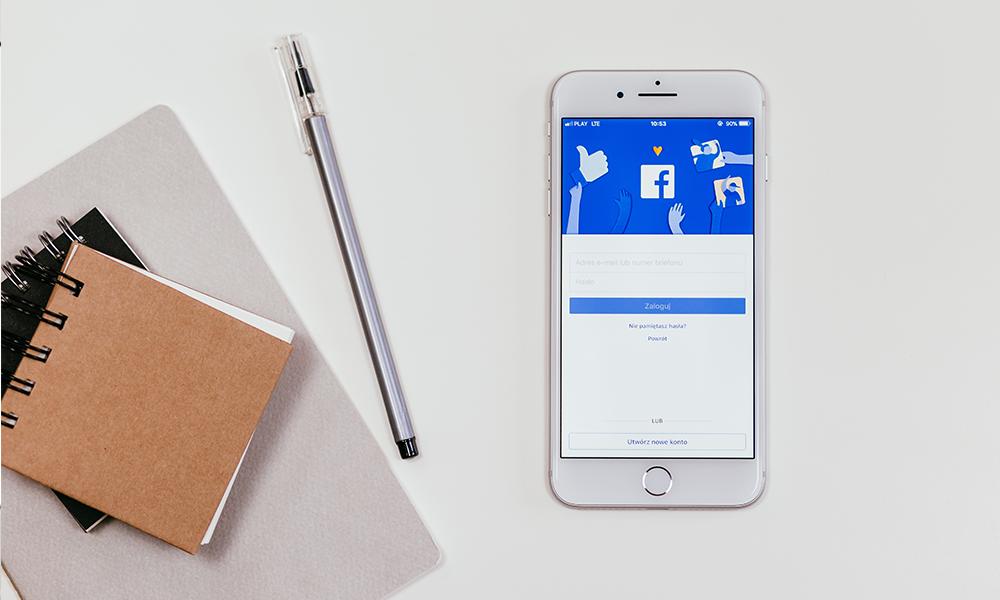 smartphone screen with Facebook login